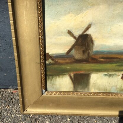 Softly painted Oil on canvas, countryside with windmill & cows, c. 1890. -33806