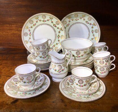 English tea set for 8, hand painted flower garlands, gilt bows & pinwheels , c.1880-0