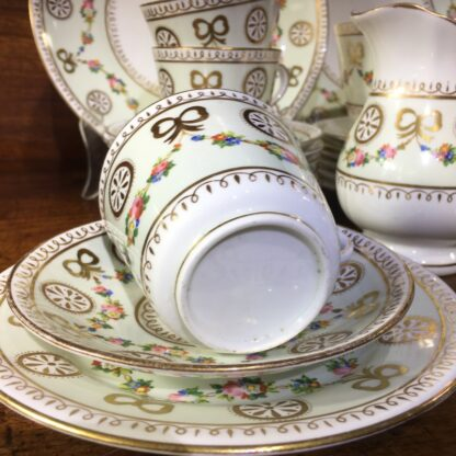 English tea set for 8, hand painted flower garlands, gilt bows & pinwheels , c.1880-33808
