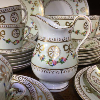 English tea set for 8, hand painted flower garlands, gilt bows & pinwheels , c.1880-33809