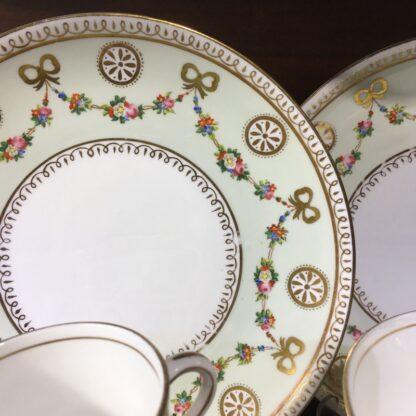 English tea set for 8, hand painted flower garlands, gilt bows & pinwheels , c.1880-33812