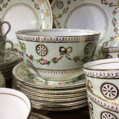 English tea set for 8, hand painted flower garlands, gilt bows & pinwheels , c.1880-33815