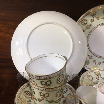 English tea set for 8, hand painted flower garlands, gilt bows & pinwheels , c.1880-33814