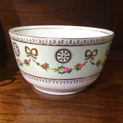 English tea set for 8, hand painted flower garlands, gilt bows & pinwheels , c.1880-33816