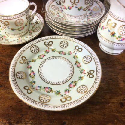 English tea set for 8, hand painted flower garlands, gilt bows & pinwheels , c.1880-33817