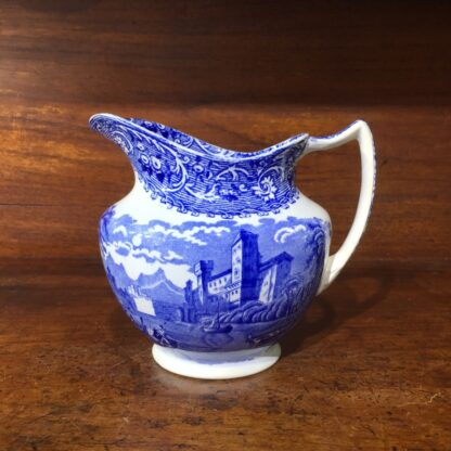 Bourne & Leigh blue printed 'Rhine' pattern jug, c. 1900 -0