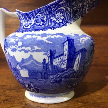 Bourne & Leigh blue printed 'Rhine' pattern jug, c. 1900 -33824