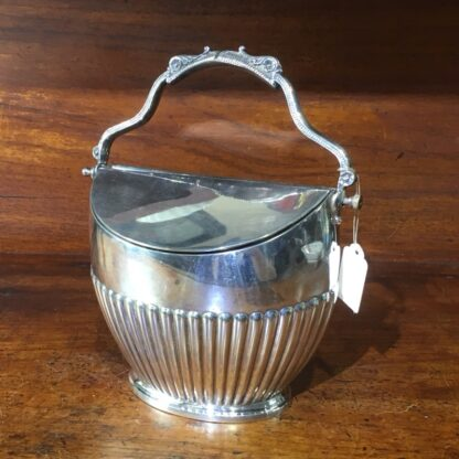 Edwardian silver plated sugar basin with hinged cover, c 1910 -0