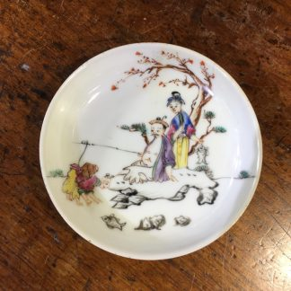 Chinese Export saucer with polychrome 'fishing' family group, c.1750 -0