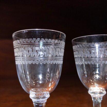 Pair of small liquor glass, Greek Key pattern, c. 1900 -34139