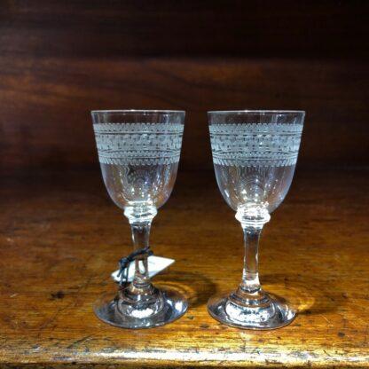 Pair of small liquor glass, Greek Key pattern, c. 1900 -0
