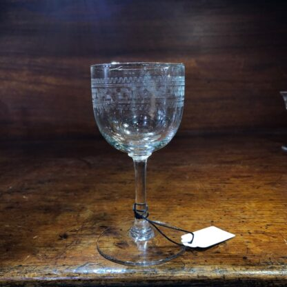 Greek Key pattern wine glass, c. 1900 -34130