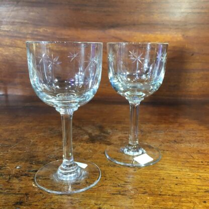 Pair of Victorian cut glass wine glasses, c. 1880 -0