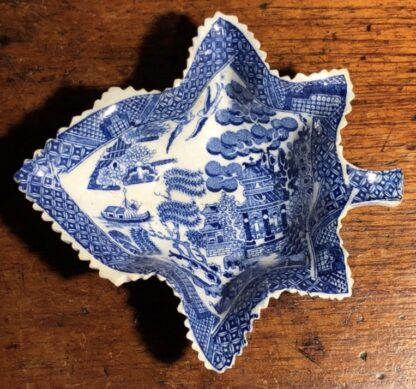 Pearlware leaf pickle dish with blue willow print, circa 1825-0