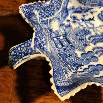 Pearlware leaf pickle dish with blue willow print, circa 1825-33972