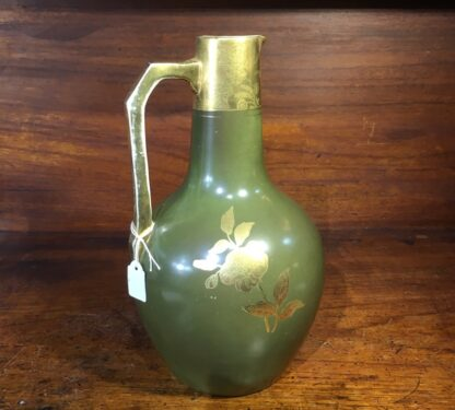 Pottery jug by Foresters England, gilt flowers c.1885 -34061