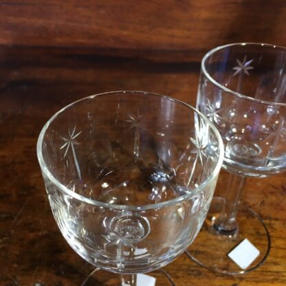 Pair of Victorian cut glass wine glasses, c. 1880 -34088