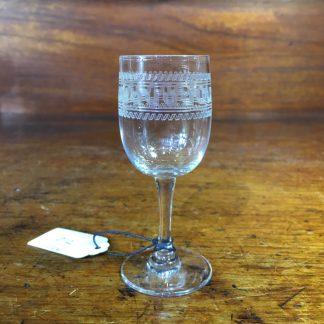 Single small liquor glass in 'Greek Key' pattern, c. 1900 -0