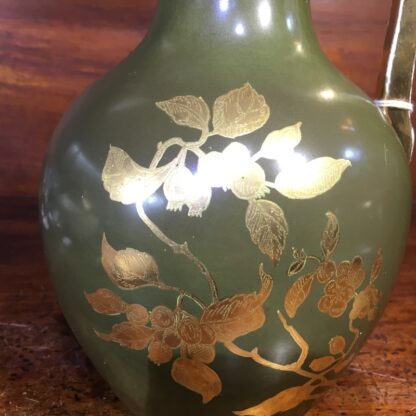 Pottery jug by Foresters England, gilt flowers c.1885 -34062