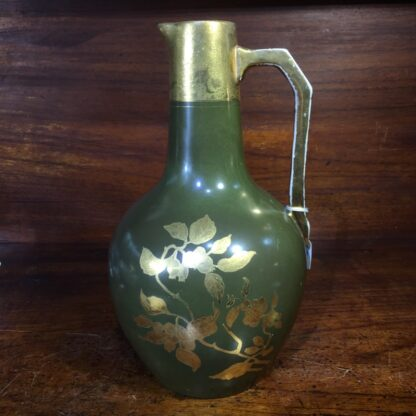 Pottery jug by Foresters England, gilt flowers c.1885 -0
