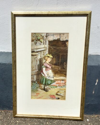 Framed watercolour of girl and doll, circa 1870 -33935