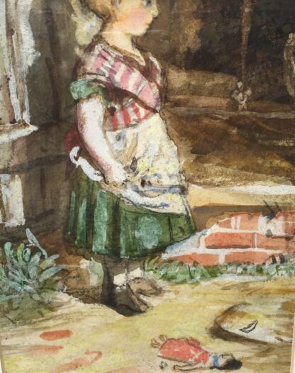 Framed watercolour of girl and doll, circa 1870 -33937