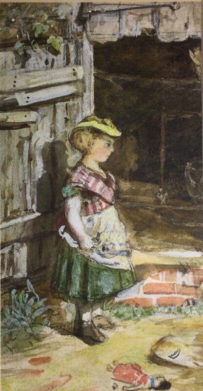 Framed watercolour of girl and doll, circa 1870 -0