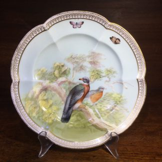 English porcelain plate painted with wood pigeons, C. 1870 -0