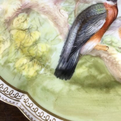 English porcelain plate painted with wood pigeons, C. 1870 -33966