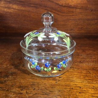 Victorian glass lidded dressing table pot, enamel forget me nots, c. 1880 -0