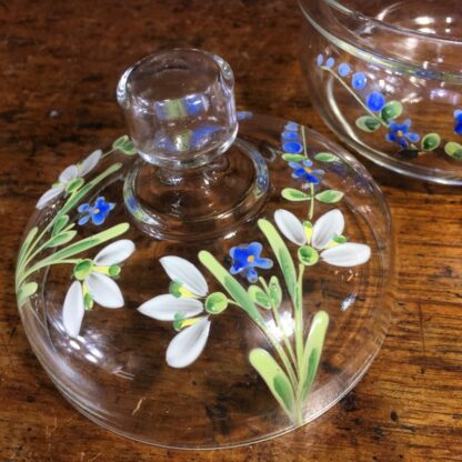 Victorian glass lidded dressing table pot, enamel forget me nots, c. 1880 -33923