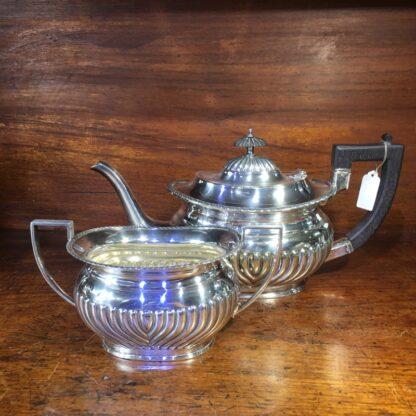 English Silver Plate teapot & sugar, Georgian style, c. 1890 -0