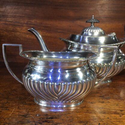 English Silver Plate teapot & sugar, Georgian style, c. 1890 -33951
