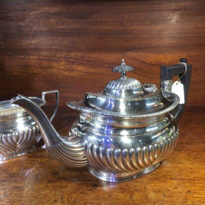 English Silver Plate teapot & sugar, Georgian style, c. 1890 -33947