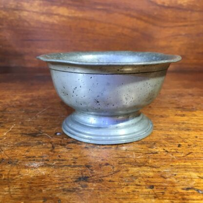 Pewter footed bowl, crown & X mark, late 18th C -33955