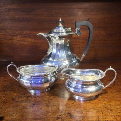 Silver plated coffee pot, creamer & sugar, c 1900 -0
