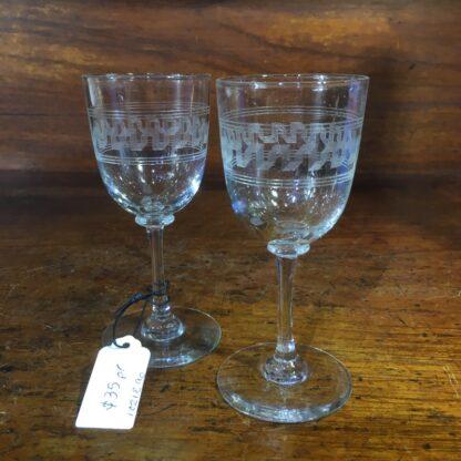 Pair of Greek Key etcheded wine glasses, c. 1900 -0