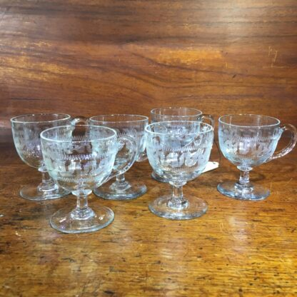 Set of six Victorian Greek Key etched custard cups, c. 1900-34071