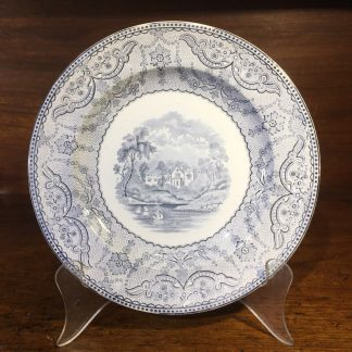 Copeland grey printed plate 'Richmond views' pattern, 1857-0