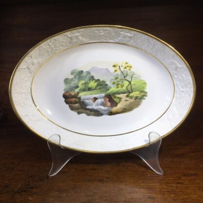 Wilson oval dish, ruins scene, dolphin moulding, c.1815-34111