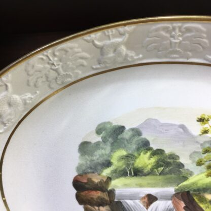 Wilson oval dish, ruins scene, dolphin moulding, c.1815-34109