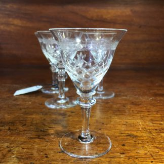 Set of 4 cut glass liqueur glasses, c. 1910 -0
