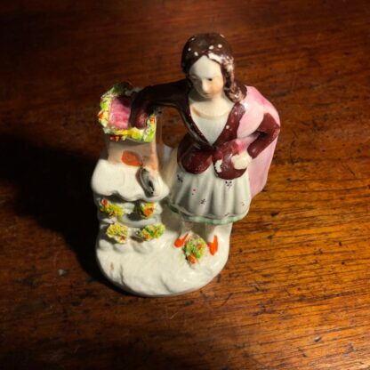 Staffordshire group, girl with hutch & rabbit, c. 1860 -34032