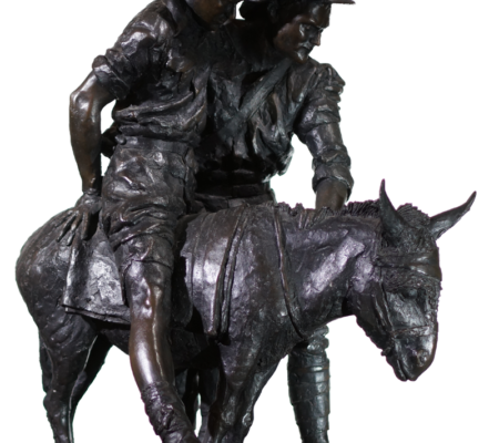 Simpson & his Donkey, Bronze by Peter Corlett 1988 - Moorabool Antiques, Geelong