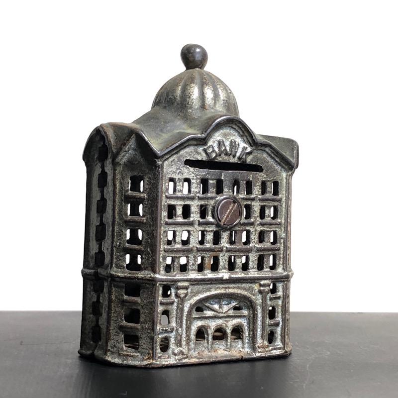 Victorian iron money box, building form, 19th century