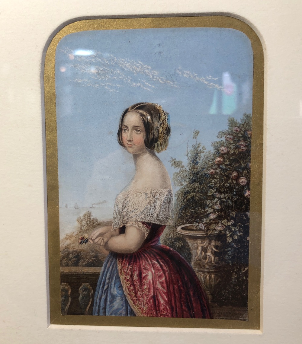 Early Miniature Baxter Print Cavalier and Two Ladies