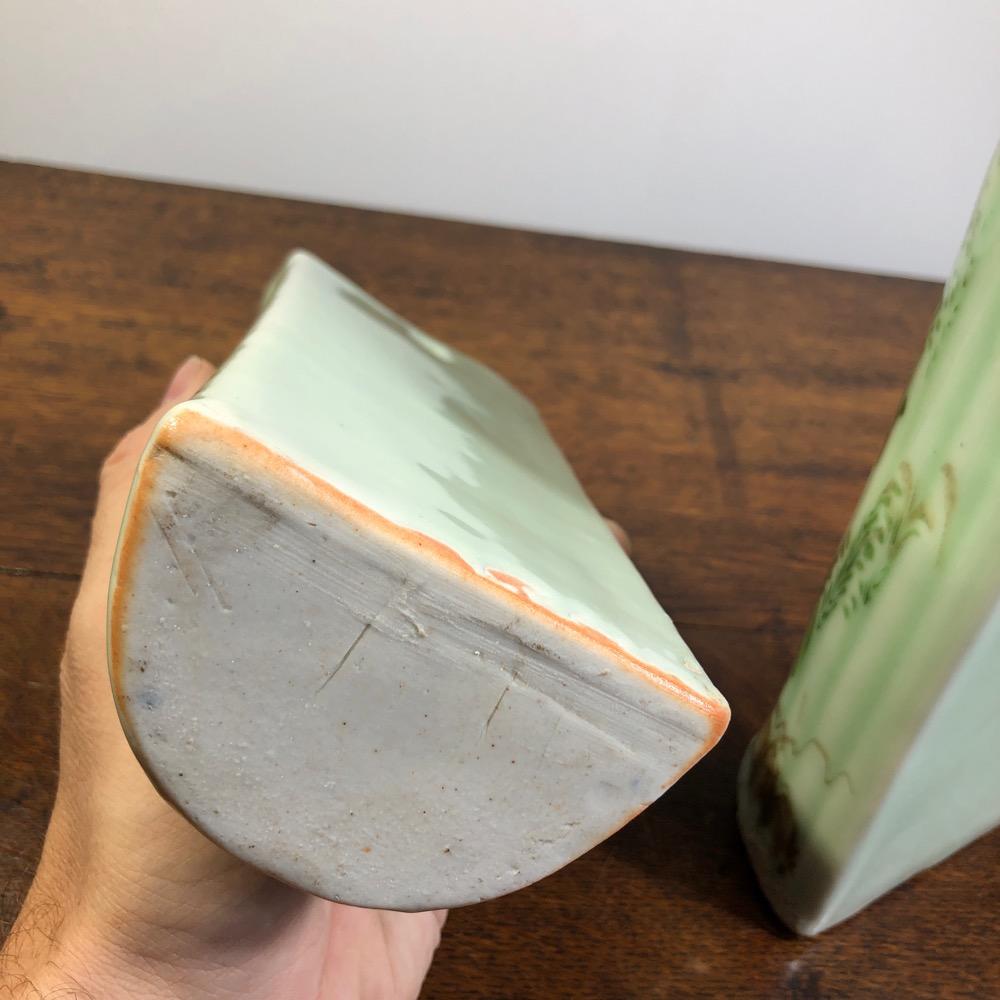 Pair of Japanese celadon glazed wall vases, c.1890 ...