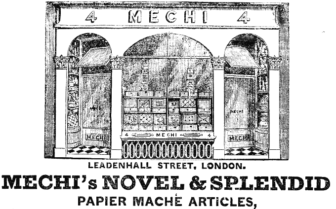 MECHI shop advert, 1840's