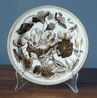"""Wedgwood chamber pot with """"Darwin"""" 'Water Lily' pattern in brown & gold, c. 1820"""